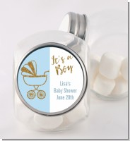 Gold Glitter Blue Carriage - Personalized Baby Shower Candy Jar