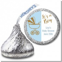 Gold Glitter Blue Carriage - Hershey Kiss Baby Shower Sticker Labels