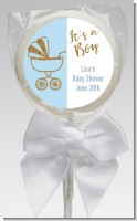 Gold Glitter Blue Carriage - Personalized Baby Shower Lollipop Favors