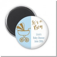 Gold Glitter Blue Carriage - Personalized Baby Shower Magnet Favors
