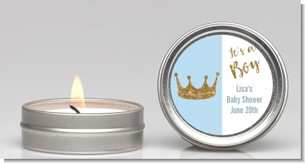 Gold Glitter Blue Crown - Baby Shower Candle Favors
