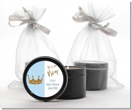 Gold Glitter Blue Crown - Baby Shower Black Candle Tin Favors