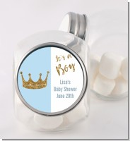 Gold Glitter Blue Crown - Personalized Baby Shower Candy Jar