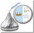 Gold Glitter Blue Crown - Hershey Kiss Baby Shower Sticker Labels thumbnail