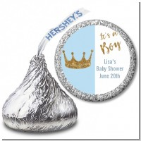 Gold Glitter Blue Crown - Hershey Kiss Baby Shower Sticker Labels