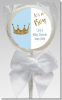 Gold Glitter Blue Crown - Personalized Baby Shower Lollipop Favors
