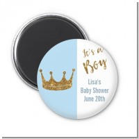 Gold Glitter Blue Crown - Personalized Baby Shower Magnet Favors