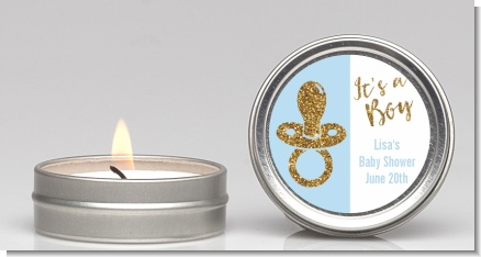 Gold Glitter Blue Pacifier - Baby Shower Candle Favors
