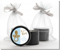 Gold Glitter Blue Pacifier - Baby Shower Black Candle Tin Favors