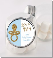 Gold Glitter Blue Pacifier - Personalized Baby Shower Candy Jar