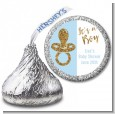 Gold Glitter Blue Pacifier - Hershey Kiss Baby Shower Sticker Labels thumbnail