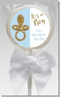 Gold Glitter Blue Pacifier - Personalized Baby Shower Lollipop Favors