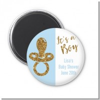 Gold Glitter Blue Pacifier - Personalized Baby Shower Magnet Favors