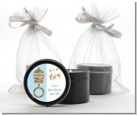 Gold Glitter Blue Rattle - Baby Shower Black Candle Tin Favors