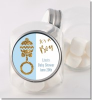Gold Glitter Blue Rattle - Personalized Baby Shower Candy Jar
