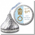 Gold Glitter Blue Rattle - Hershey Kiss Baby Shower Sticker Labels thumbnail
