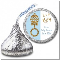 Gold Glitter Blue Rattle - Hershey Kiss Baby Shower Sticker Labels