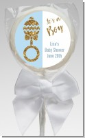 Gold Glitter Blue Rattle - Personalized Baby Shower Lollipop Favors
