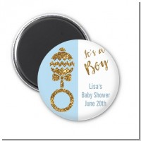Gold Glitter Blue Rattle - Personalized Baby Shower Magnet Favors