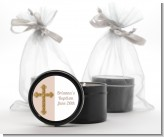 Gold Glitter Cross Beige - Baptism / Christening Black Candle Tin Favors