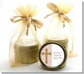 Gold Glitter Cross Beige - Baptism / Christening Gold Tin Candle Favors