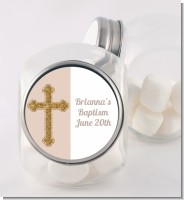 Gold Glitter Cross Beige - Personalized Baptism / Christening Candy Jar