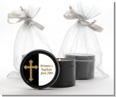 Gold Glitter Cross Black - Baptism / Christening Black Candle Tin Favors