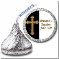 Gold Glitter Cross Black - Hershey Kiss Baptism / Christening Sticker Labels