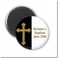 Gold Glitter Cross Black - Personalized Baptism / Christening Magnet Favors