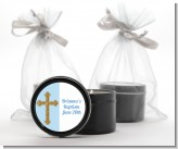 Gold Glitter Cross Blue - Baptism / Christening Black Candle Tin Favors