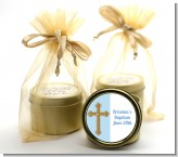 Gold Glitter Cross Blue - Baby Shower Gold Tin Candle Favors
