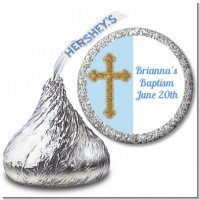 Gold Glitter Cross Blue - Hershey Kiss Baptism / Christening Sticker Labels