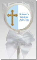 Gold Glitter Cross Blue - Personalized Baptism / Christening Lollipop Favors