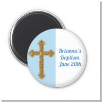 Gold Glitter Cross Blue - Personalized Baptism / Christening Magnet Favors