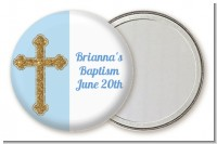 Gold Glitter Cross Blue - Personalized Baptism / Christening Pocket Mirror Favors