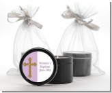 Gold Glitter Cross Lavendar - Baptism / Christening Black Candle Tin Favors