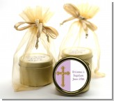 Gold Glitter Cross Lavendar - Baptism / Christening Gold Tin Candle Favors