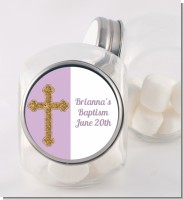 Gold Glitter Cross Lavendar - Personalized Baptism / Christening Candy Jar