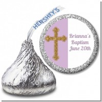 Gold Glitter Cross Lavendar - Hershey Kiss Baptism / Christening Sticker Labels