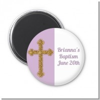 Gold Glitter Cross Lavendar - Personalized Baptism / Christening Magnet Favors