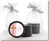 Gold Glitter Cross Pink - Baptism / Christening Black Candle Tin Favors