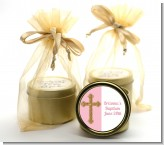 Gold Glitter Cross Pink - Baptism / Christening Gold Tin Candle Favors
