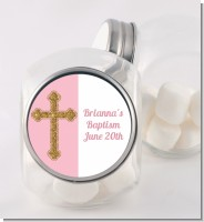Gold Glitter Cross Pink - Personalized Baptism / Christening Candy Jar