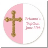 Gold Glitter Cross Pink - Round Personalized Baptism / Christening Sticker Labels