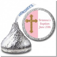 Gold Glitter Cross Pink - Hershey Kiss Baptism / Christening Sticker Labels