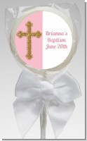 Gold Glitter Cross Pink - Personalized Baptism / Christening Lollipop Favors