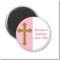 Gold Glitter Cross Pink - Personalized Baptism / Christening Magnet Favors