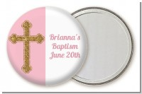 Gold Glitter Cross Pink - Personalized Baptism / Christening Pocket Mirror Favors
