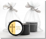 Gold Glitter Cross Yellow - Baptism / Christening Black Candle Tin Favors