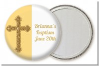 Gold Glitter Cross Yellow - Personalized Baptism / Christening Pocket Mirror Favors